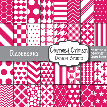 Raspberry Fuchsia Pink Geometric Basic Digital Paper 1170