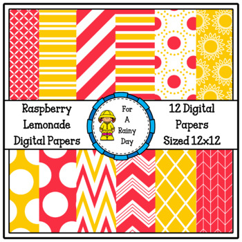 Raspberry Lemonade Digital Paper (Pink & Yellow)