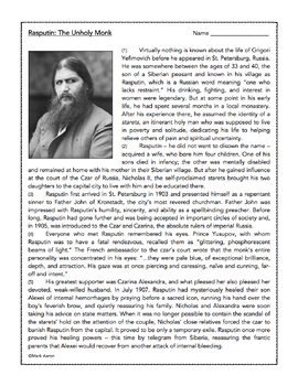 Rasputin the Mad Monk : Historical Passage and Assessment