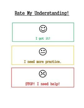 Rate My Understanding Poster/Chart