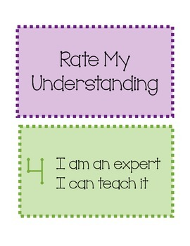 Rate My Understanding Self Assessment Cards