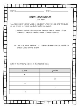 Rate & Ratio - Math Assessments