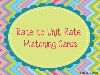 Rate & Unit Rate Matching Cards