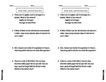 Rate & Unit Rate Mini Quiz