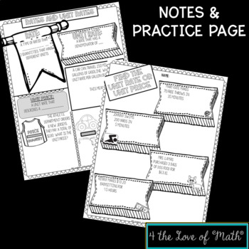 Rate, Unit Rate, Unit Price No Prep Note Pages