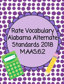 Rate Vocabulary Accommodated Activity and task cards. AAS 2018 M.AAS.6.2