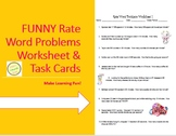 Rate Word Problems Worksheet 1 & TASK CARDS