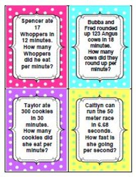 Rate Word Problems Worksheet 1 & TASK CARDS
