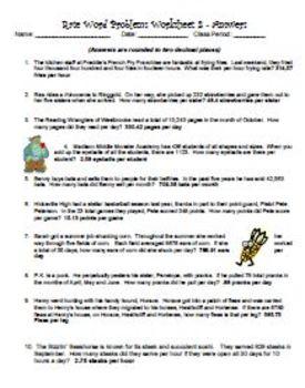 Rate Word Problems Worksheet 2 & TASK CARDS