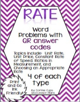 Rate Word Problems with QR Codes Ink Friendly!