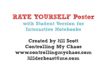 Rate Yourself Poster and Student Notebook Copy