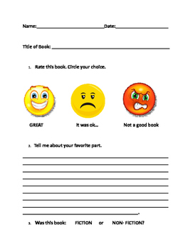 Rate a Book - Kindergarten/1st Grade