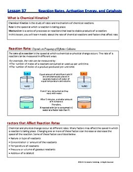 Rate and Energy of Reaction, Catalyst -  Guided Study Notes for Chem