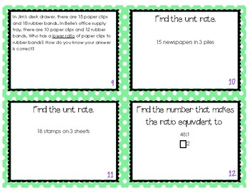 Rate and Ratio Cards