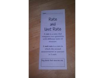 Rate and Unit Rate Print n' Fold (Foldable) Interactive Notebook