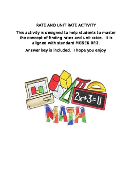 Rate and Unit Rate Puzzle Activity