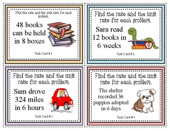 Rate and Unit Rate Task Cards