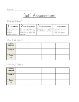 Self Assessment - Rate and Date it by Wiley Teaching | TpT