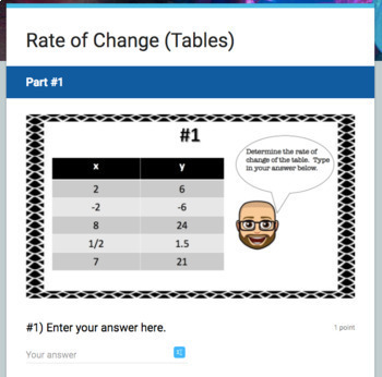 Rate of Change Google Form Bundle – Perfect for Google Classroom!