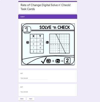 Rate of Change (Slope) Solve 'n Check! Task Cards
