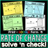 Rate of Change (Slope) Solve 'n Check! Tasks - print and digital
