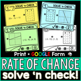 Rate of Change (Slope) Solve 'n Check! Tasks - print and digital