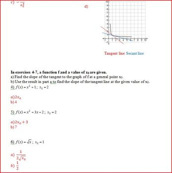 Rate of Change Tangents and Secants (WS)