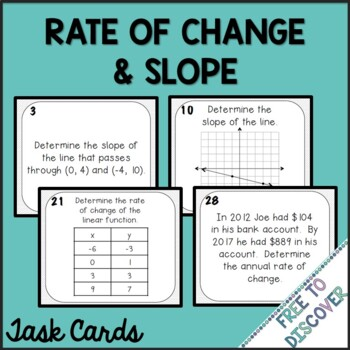 Rate of Change and Slope Task Cards