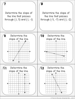 Rate of Change and Slope Activity - Task Cards