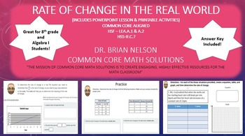 Rate of Change in the Real World - PowerPoint Lesson and P