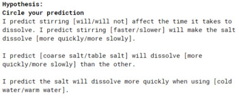 Rate of Dissolving Lab Sheet