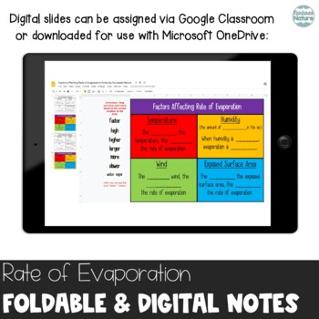 Rate of Evaporation - Factors that Influence Foldable for Interactive Notebook
