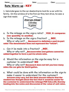 Rates and Unit Rates Worksheet, Notes, Poetry, and Warm-up ...