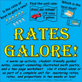 Rates and Unit Rates Worksheet, Notes, Poetry, and Warm-up Problems