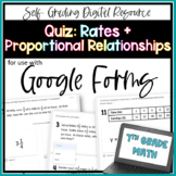Rates + Proportional Relationships QUIZ - for use with Goo