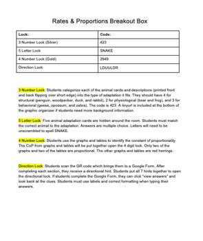 Rates & Proportions Breakoutbox / Escape Room - Animal Adaptations