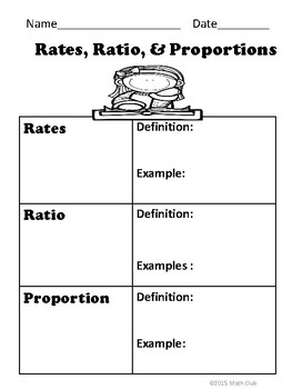 Rates, Ratio, and Proportion No Prep Lesson