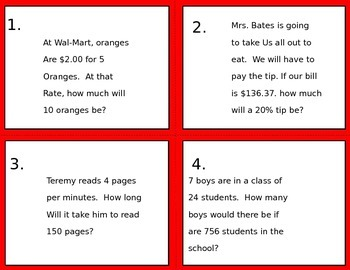 Rates, Ratios, Percents Task cards.