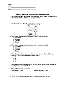 Rates, Ratios & Proportions Common Core Assessment
