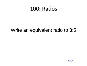 Rates, Ratios, Proportions Review Jeopardy Game
