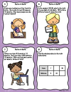 Rates & Ratios Task Cards