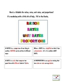 Rates, Ratios, Unit Rates and Proportions