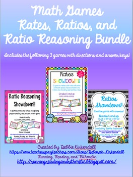 Rates, Ratios, and Ratio Reasoning Three Pack of Games