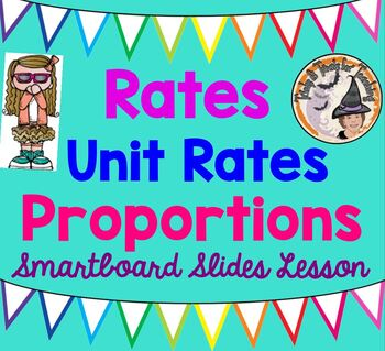 Rates Unit Rates Proportions Smartboard Whiteboard Lesson with Answers