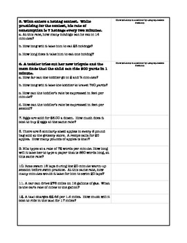 Rates and Conversions Word Problems