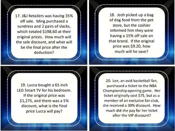 Rates and Percentages Task Cards