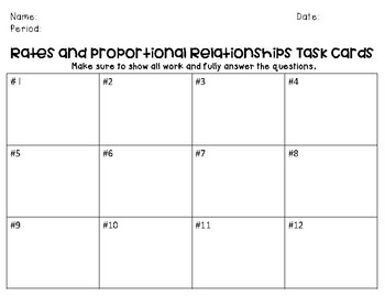 Rates and Proportional Relationships Task Cards