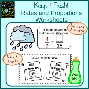 Rates and Proportions Worksheets With Story Problems