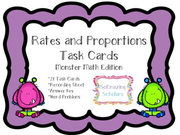 Rates and Proportions Task Cards