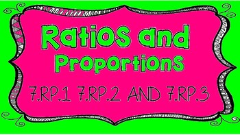 Rates and Proportions Task Cards 7.RP